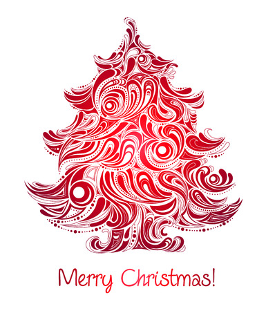 red christmas tree abstract silhouette Stock Vector - 8225357