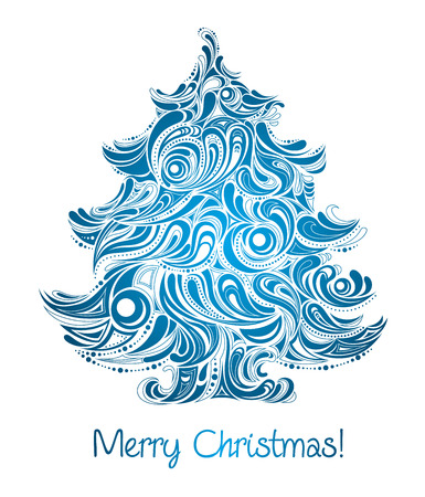 blue christmas background: Christmas tree in blue color