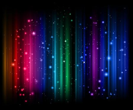 오로라: 다채로운 세로 조명 줄무늬 빛나는
