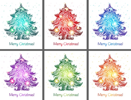 christmas trees cards collection Stock Photo - 8225380