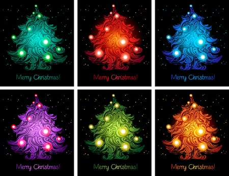 shiny colorful christmas trees backgrounds photo