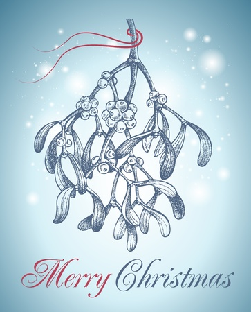 mistletoe: christmas mistletoe hand drawn Stock Photo