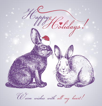 new year bunnies beautiful background Vector