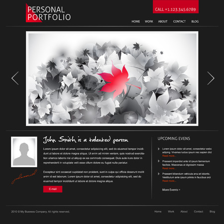black stylish website template for personal portfolio - perfect for photographers and designers Vector