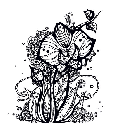 hand drawn flower: orchid stylized drawing Illustration