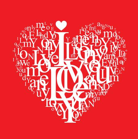 besos apasionados: forma de coraz�n tipogr�ficas