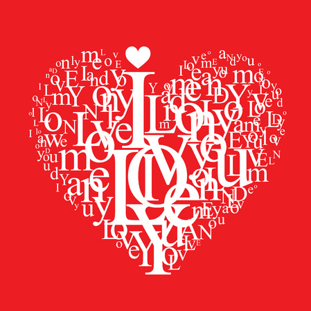 typographic heart shape Vector