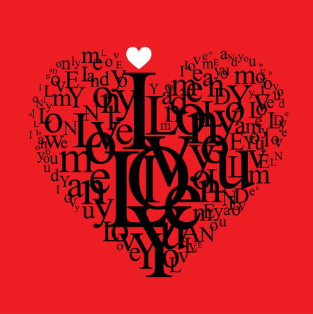love background - typographic heart shape Vector