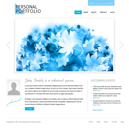 white website template - portfolio presentation for artists, designers, photographers Stock Photo - 9082012