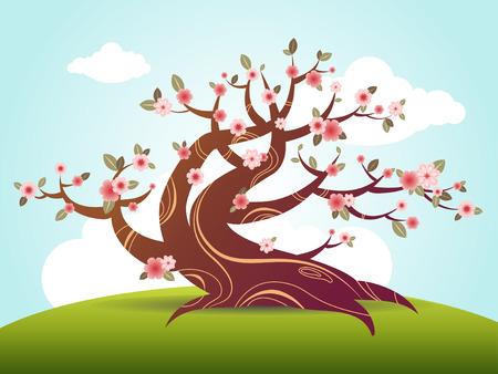 life style: spring blossom tree cartoon style illustration