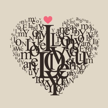 love words: Heart shape from letters - typographic composition Illustration