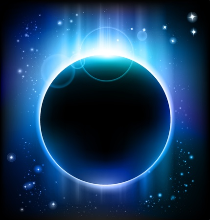 space background with a planet in a blue light photo
