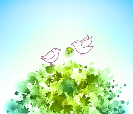 Birds and green leaves Stock Photo - 9082006