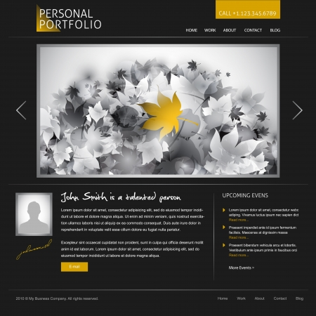 black stylish website template for personal portfolio - perfect layout for photographers and designers Stock Photo - 9082011