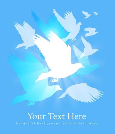 blauwe achtergrond met witte vogels