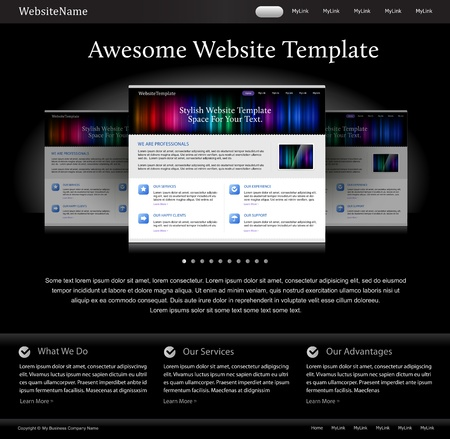 black stylish website template for designers Vector