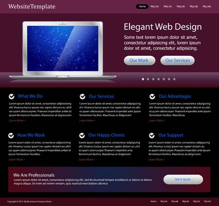 Purple stylish website template Vector