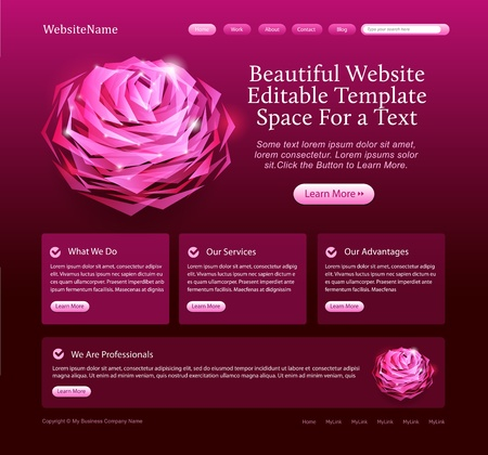elegant website template with rose Stock Vector - 9294151