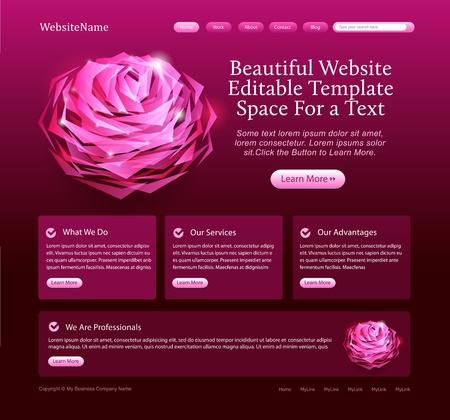 Elegante websitemalplaatje met roos Stockfoto - 9294151