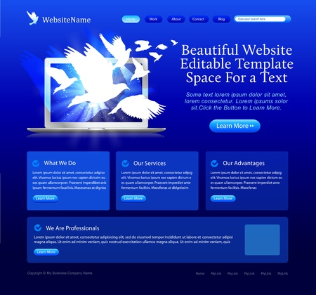 blue website template - doves flying from laptop Stock Vector - 9294149