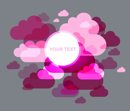 clouds design - pink overlapped shaped Stock Vector - 9613696