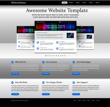 Editable web design website elements - bright template Vector
