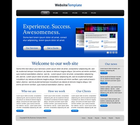 Business-websitesjabloon - blauw, zwart, wit Stockfoto - 9614600