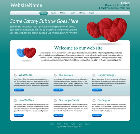 website template medical, health care theme - green design with hearts - great layout for a doctor, clinic, hospital, health care or pharmacy company Illustration