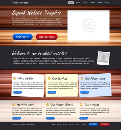 Web design website elements - design template with wooden texture background and stickers Vector
