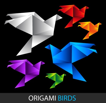 origami bird: colorful origami birds