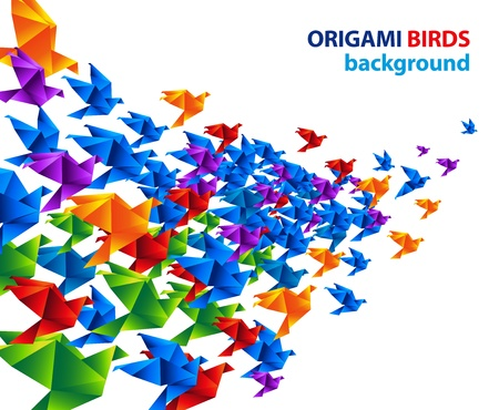 origami bird: origami birds flight abstract background