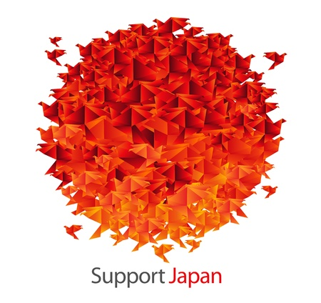 earthquake: japan flag shaped from origami birds Illustration