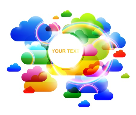 colorful art clouds and bubbles Stock Vector - 9535740
