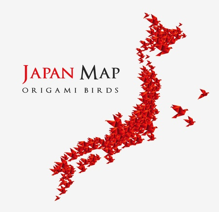 origami bird: japan map shaped from origami birds Illustration