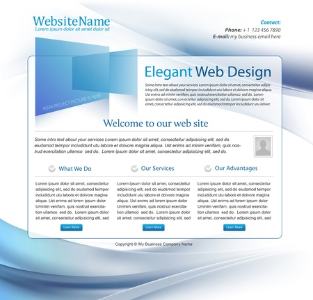 web site design template: high tech company blue business website template - editable Illustration
