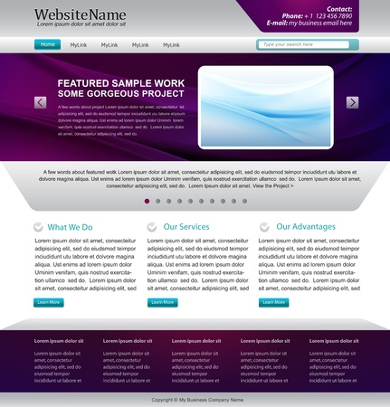 page layout: website template design - metallic, purple colors Illustration