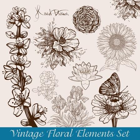 Vintage floral achtergronden set - vectorillustratie Stock Illustratie