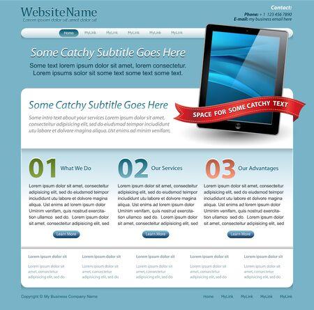 mobilhome: mod�le de site Web avec tablette de pav� tactile Illustration