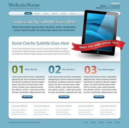 web site template with touch pad tablet Vector