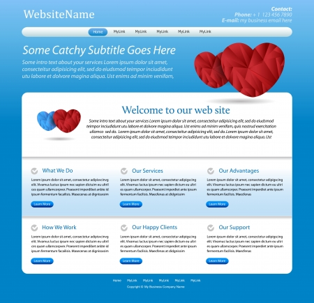 Medical website blue editable template photo