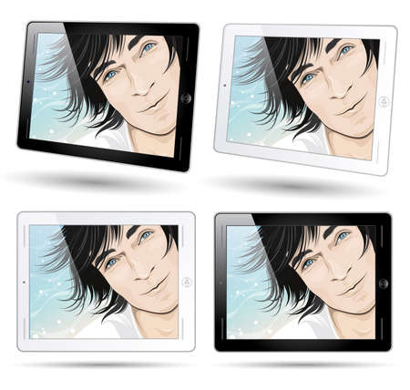 tablet computers with smiling male face background photo