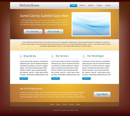 Website design template - golden and blue colors photo