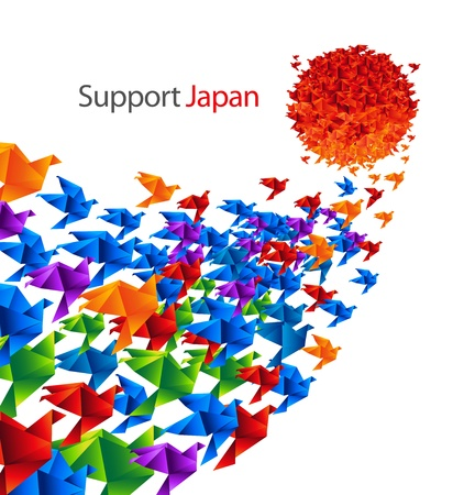 Japan social art - Colorful paper origami birds flying to the Sun (Japan flag metaphor) - as a symbol of support to Japan Stockfoto