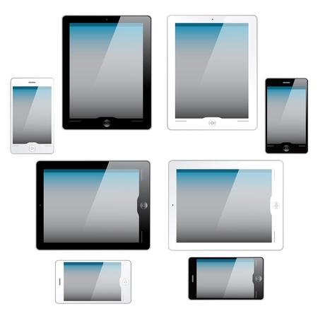 tabletcomputer en mobiele telefoon pictogrammen Stockfoto