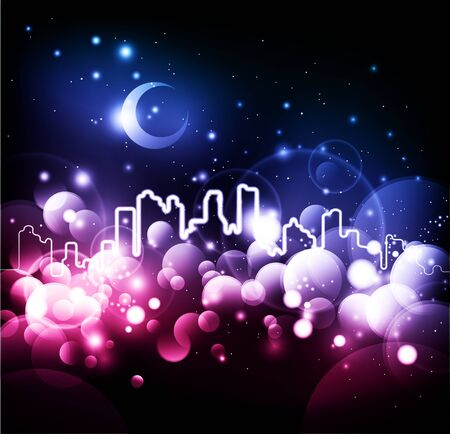 Night city abstract vector background photo