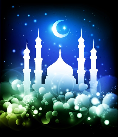 fitr: Ramadan background - mosque silhouette and crescent moon at night - blue and green colors Stock Photo