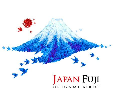 origami oiseau: Fuji en forme d'origami, des oiseaux, le Japon symbole national. Id�al pour les social, la culture conceptions de voyage, une id�e cr�ative.