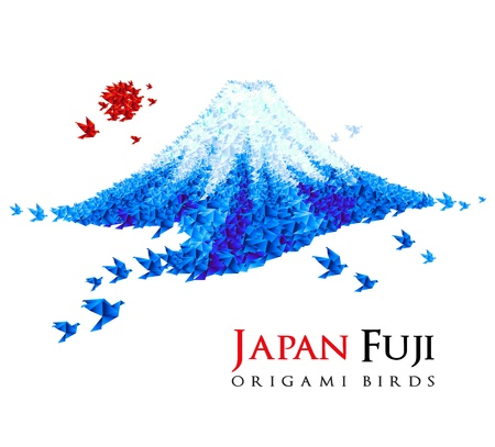 top of mountain: Fuji shaped from origami birds, Japan national symbol. Great for social, culture, travel creative idea designs.