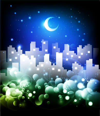 Night city skyline abstract background - vector illustration illustration