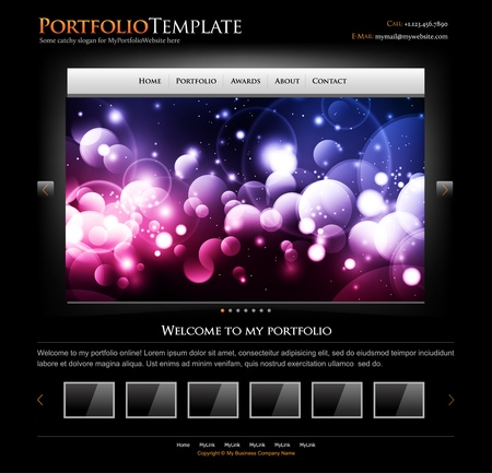 black stylish website template for personal portfolio - perfect layout for photographers, designers and design studio Stock Photo